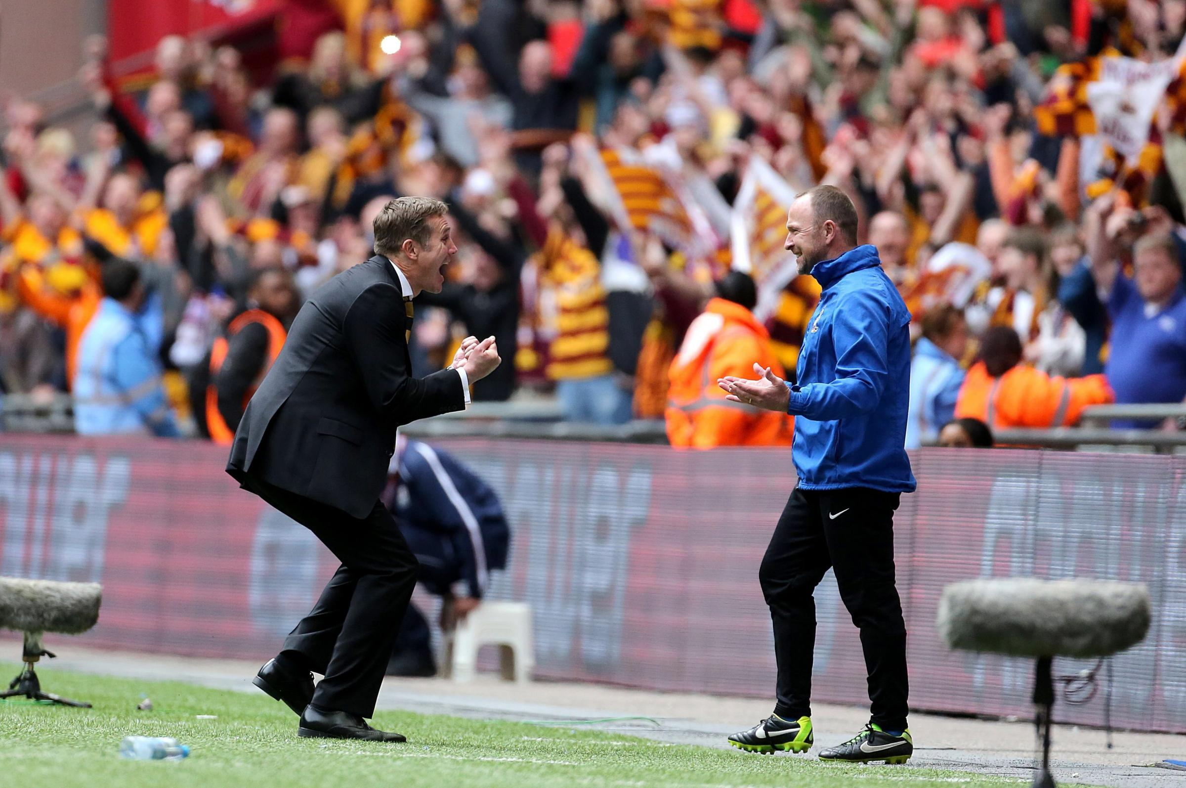Phil Parkinson and assistant Steve Parkin have had plenty to celebrate in their three years at Valley Parade