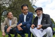 Abdul Rasaq, a local resident, with Cllr Mohammed Shafiq and resident Mansha Iqbal, with horse droppings left in Bradford Moor Park