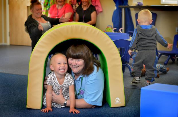 The new Carwood Primary School facility for two-year-olds. Manager Sylvia Ralph with young Daisy Hodgson, aged two