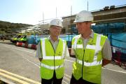 Airedale Hospital medical director Karl Mainprize, left, joins building manager Gavin Redfern of Willmott Dixon as work progresses on the accident and emergency site