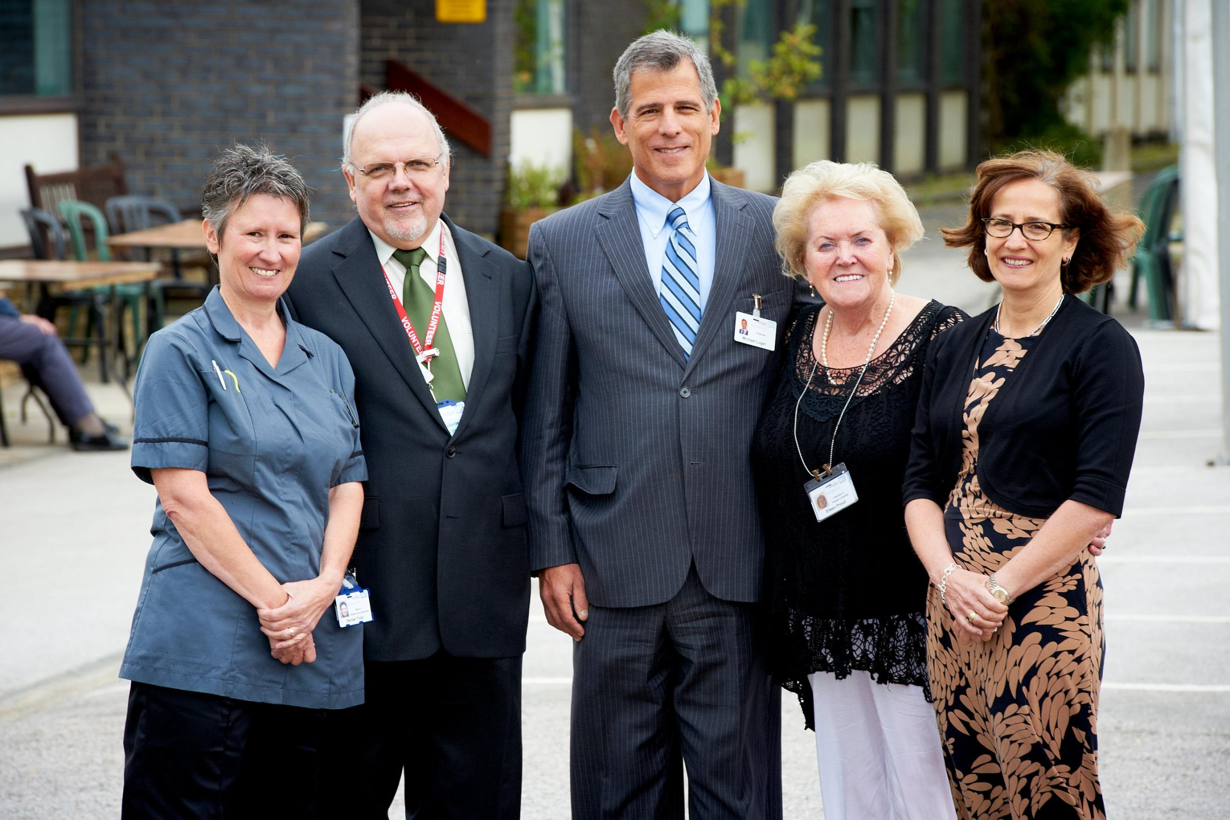 From left, matron Denise Todd, New Venture chairman Mike Yates, Airedale NHS Foundation Trust chairman Michael Luger, Friends of Airedale chairman Eileen Proud, foundation trust chief executive Bridget Fletcher