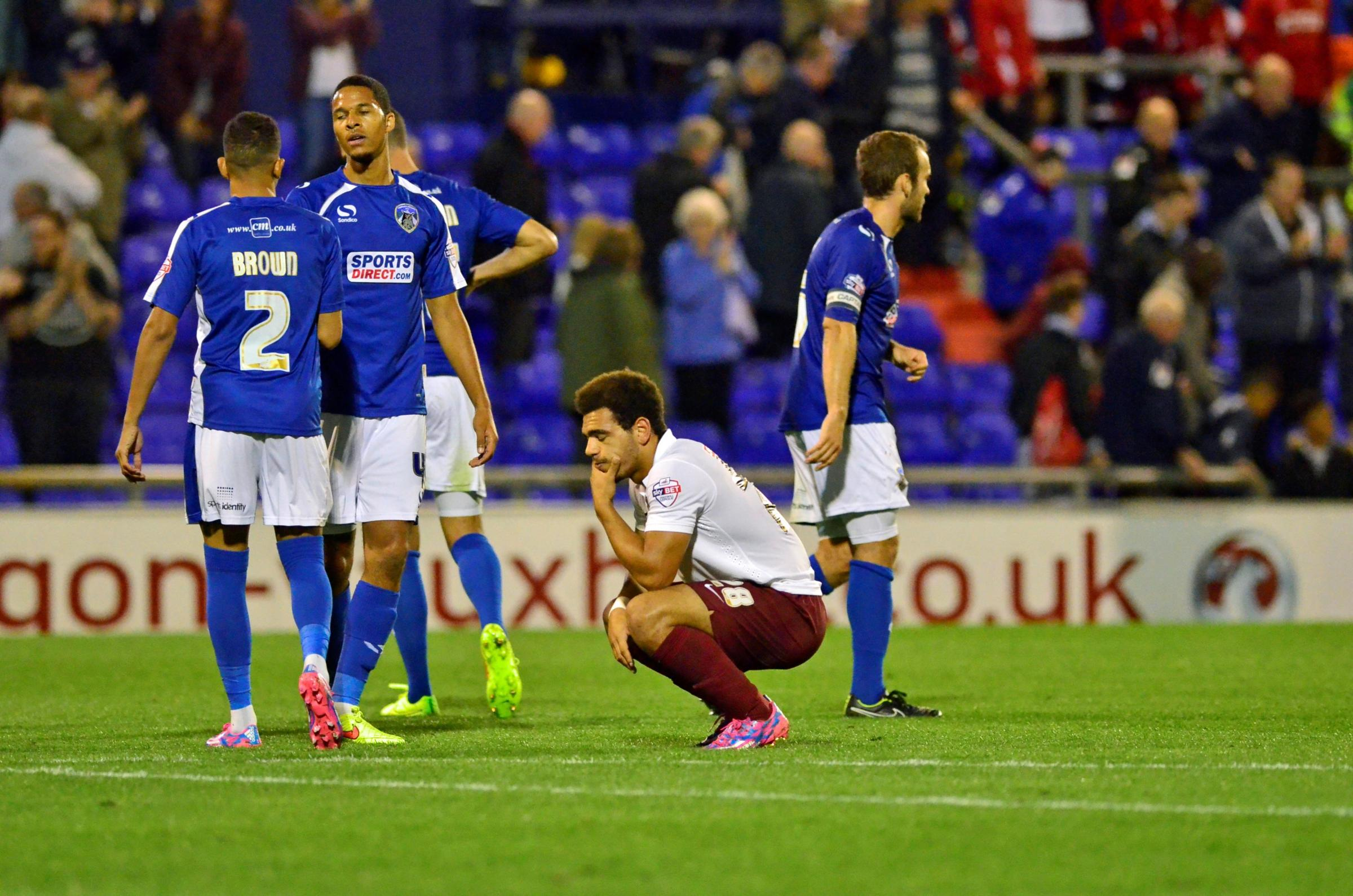 Mason Bennett shows his dismay after a late chance goes begging in City's last-gasp defeat in the JP Trophy at Oldham