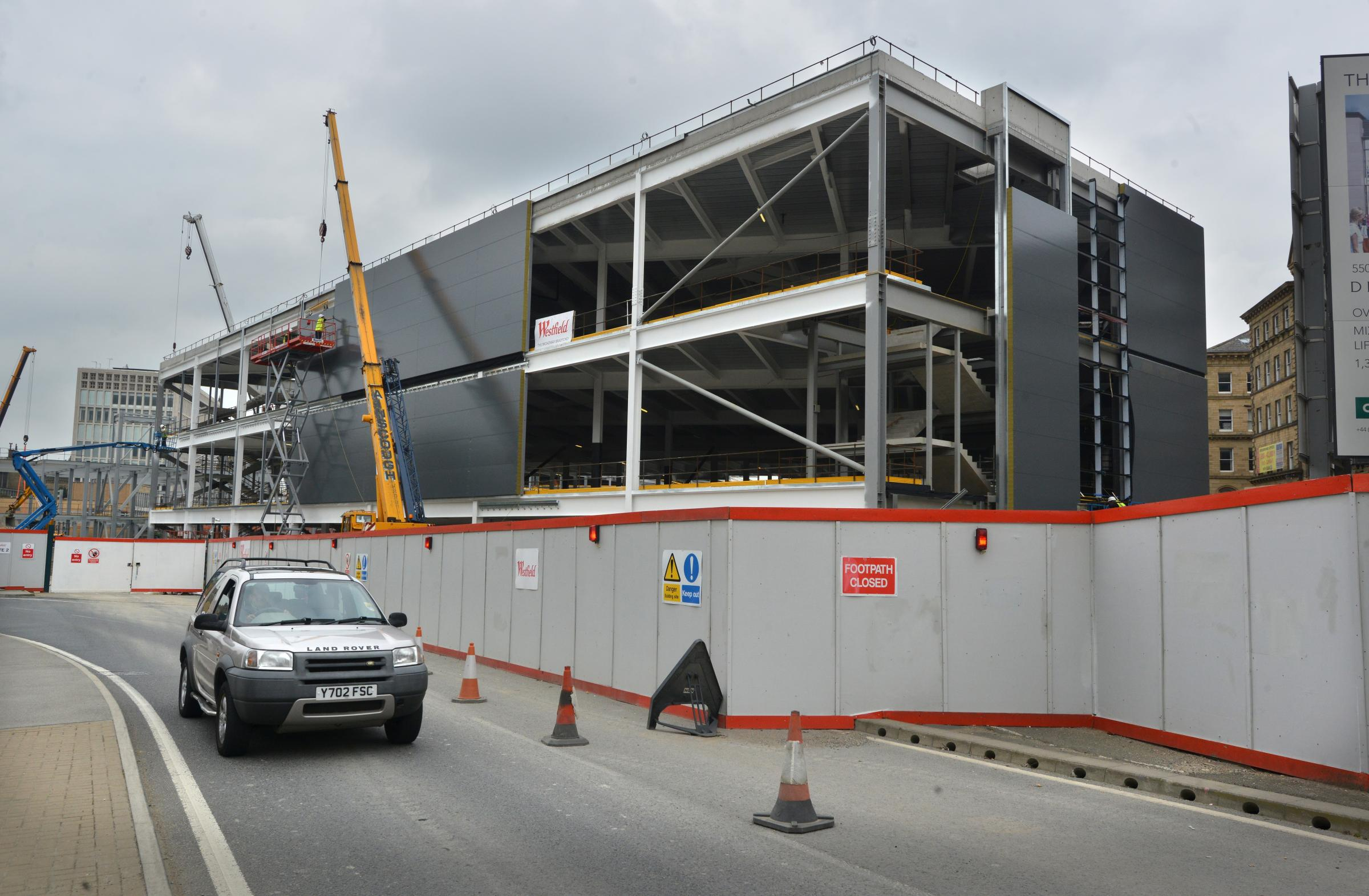FORGING AHEAD: Work has started to install the cladding at the Westfield Broadway shopping centre