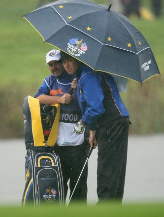 CUP OF CHEER: Billy Foster, pictured with Lee Westwood the last time he caddied in the Ryder Cup at Celtic Manor in 2010, can't wait to sample the atmosphere again