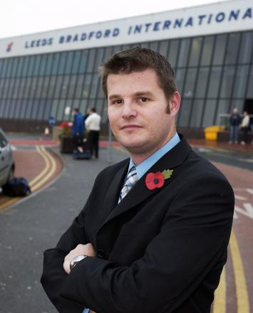 CALL: Pudsey MP Stuart Andrew outside the terminal building at Leeds-Bradford Airport. Inset, Chancellor George Osborne