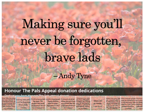 Bradford Telegraph and Argus: Honour The Pals Dedications Gallery