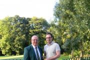 Crow Nest Cup winner Stephen May, right, with Crow Nest club captain Mick Wolfenden