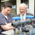 Bradford Telegraph and Argus: Bradford University's Vice Chancellor, Brian Cantor, talking to student Peter Schaal at the opening of the new engineering lab