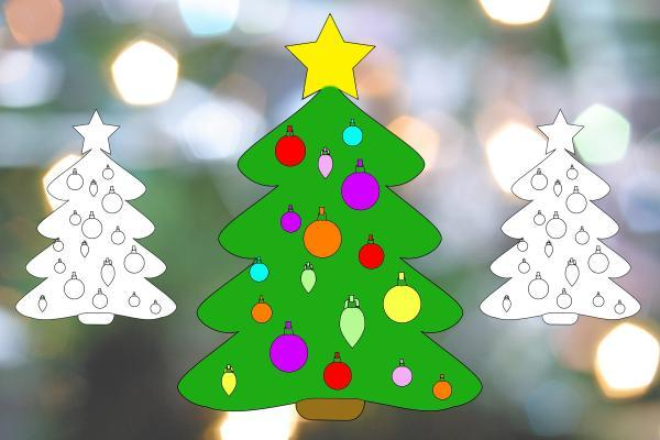 christmas tree decoration to print and colour in bradford