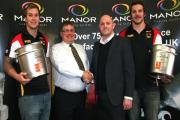 Lucas Walshaw, Mick Brannan of Manor Coating Systems, Bulls commercial manager Rob Parker and Samir Tahraoui