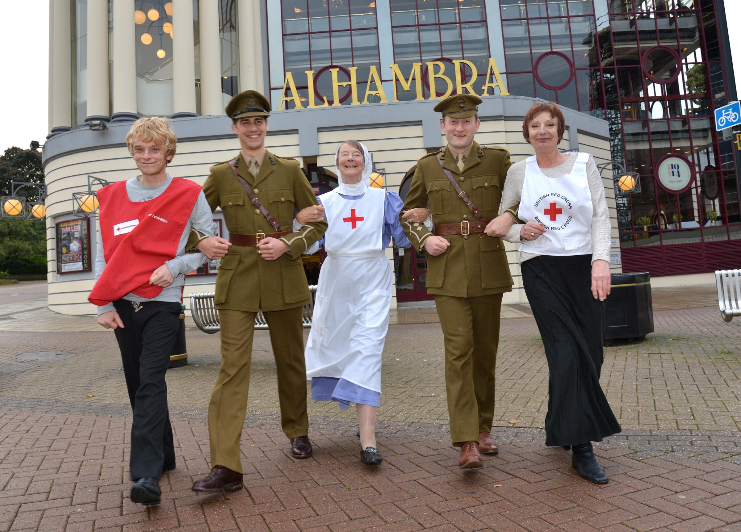 Regeneration at the Alhambra. Red Cross members with cast  Andrew Sheffield, Christopher Brandon Branda Coygan, Jack Monaghan, Barbara Priest