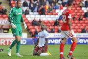 The frustration is clear as Aaron Mclean reacts to a chance going begging at Barnsley