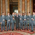 Bradford Telegraph and Argus: NOBLE ACHIEVEMENT: Yorkshire parade their silverware in the Palace alongside the Duke of Edinburgh