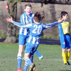 Bradford Telegraph and Argus: Goal-scorers Adam Wood and Jacob McLoughlin congratulate each other during Wibsey Lions under-13s' 5-3 victory over Brighouse