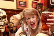 Barmaid Joanna Gregory gets ready for the Halloween Snake and Beer party at Skipton's Castle Inn