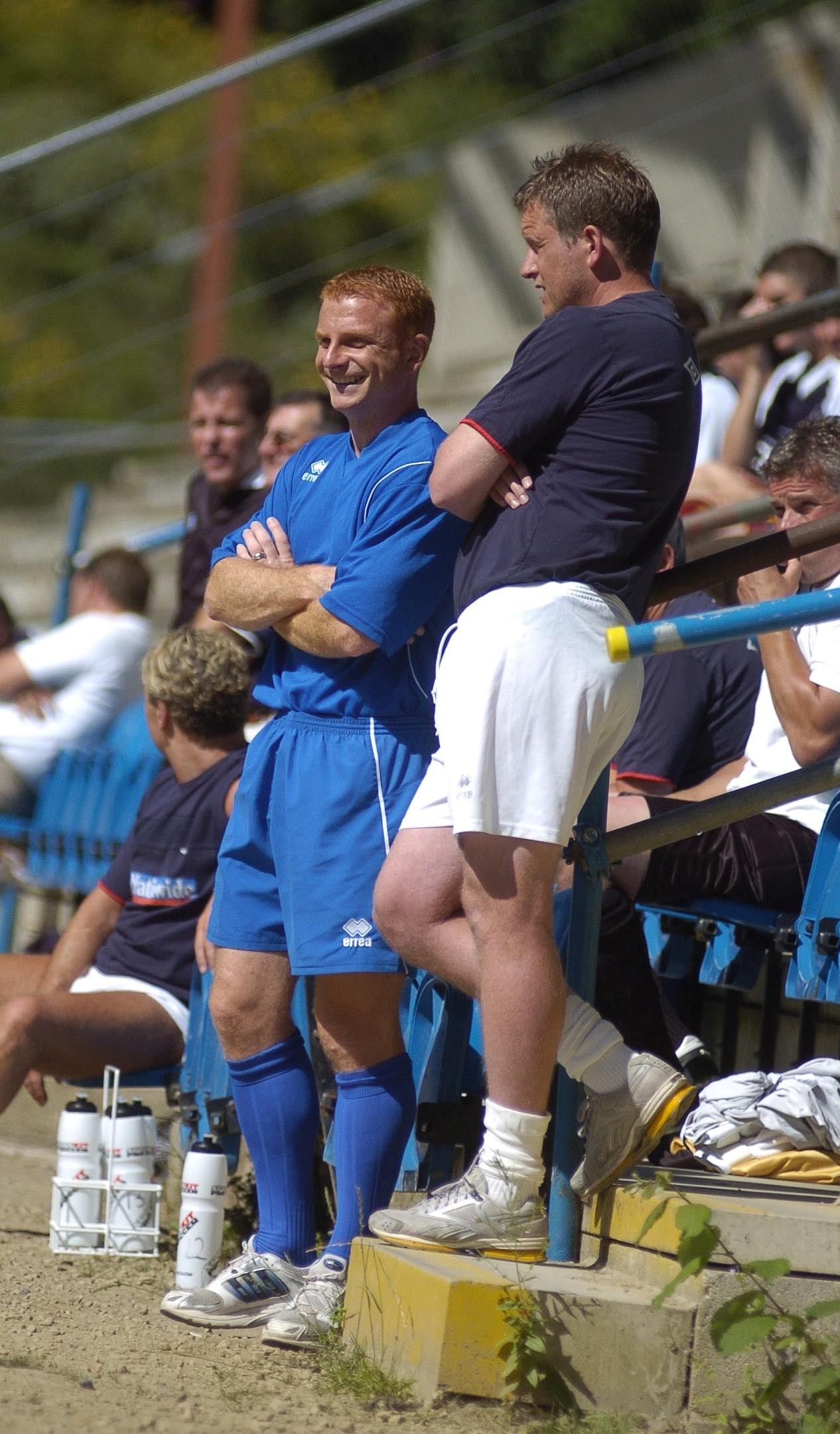 Wayne Jacobs, left, alongside Chris Wilder during their time as the Halifax management duo