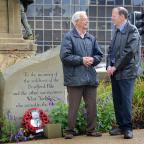 Bradford Telegraph and Argus: Bernard Cummings and Bill Boldy from the Bradford Family History Society which has donated £500 to the Bradford Pals Appeal