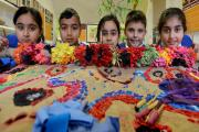 Children at the workshop from Eastwood Primary School in Keighley. From left, Bushra Shazad, Mohammad Rehman, Honufa Ferdousi, Shakeal Hussain and Humayra Ghafoor