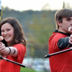 Bradford Telegraph and Argus: TAKING AIM:  Freya Leask and Dean Dowling, of the University of Bradford's Archery Club, are taking part in a non-stop 24-hour shoot-out for the Telegraph & Argus Crocus Cancer Appeal
