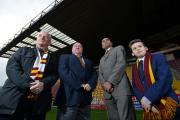APPEAL: Mike Thomas, of  Bradford City Football Club's Supporters' Board, Mark Lawn, Bradford City co-chairman, Ajay Mahajan, director of Bradford Burns Research Unit and Aaron Shaw, 11, of Bradford Disability Football Club