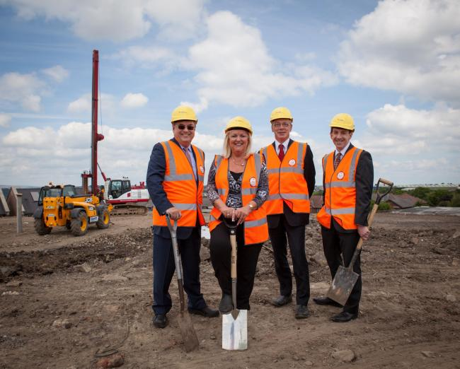 Jill Kemp with, (from left), Roger Marsh, Leeds City  region LEP chairman; Bradford Council leader David Green, and Peter Sumner  Yorkshire Bank, at the Gateway ground-breaking ceremony earlier this year