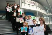 Pupils at Tong School with their Christmas cards designs