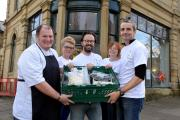 The Real Food Project Saltaire, From left organisers Chris Hogg, Stacey Farrar, Duncan Milwain, Carol and Angus McNab