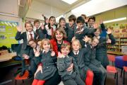 Alixena Lubomski, head of Sacred Heart Catholic Primary School, Ilkley, with some of her pupils