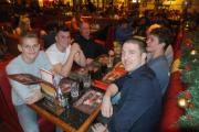 NIGHT OUT: Matt Diskin and his under-19s players enjoy a meal thanks to the BullBuilder supporters trust