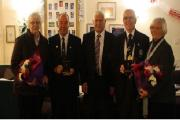 Bradford & District FA long-service awards are presented to Albert Dent and Brian Goodall. From left: Pat and Brian Goodall, Barry Chaplin (West Riding County FA chairman), Albert and Carol Dent