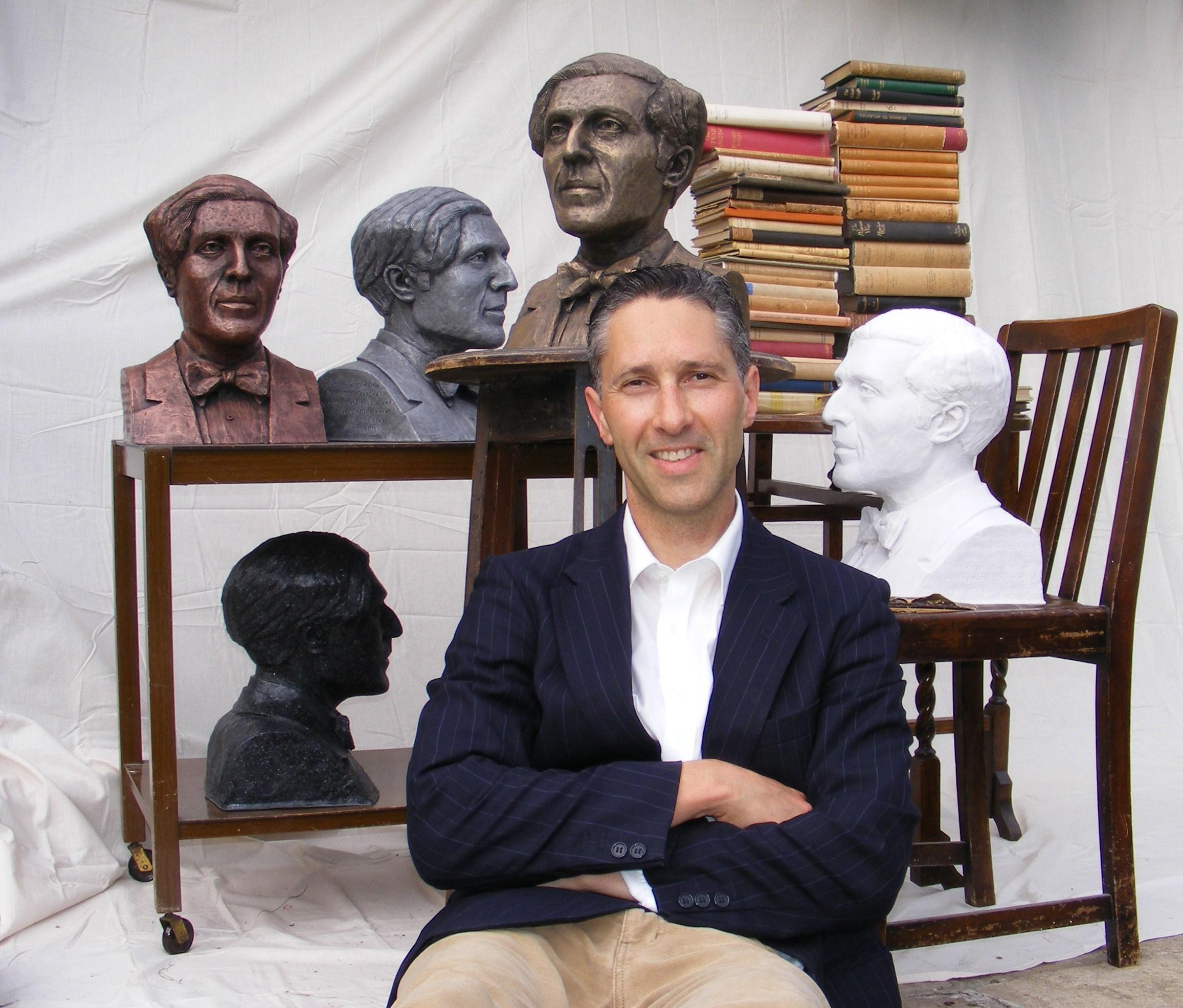 Humbert Wolfe's great-great nephew, sculptor Anthony Padgett, with his works depicting the Bradford-born First World War poet
