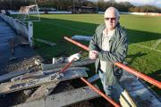 Thackley official Mick Lodge surveys the damage