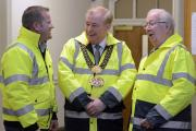 Lord Mayor, Mike Gibbons, with Street Angels' Chairman Paul Sunderland and Brian Horsfall