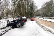 The overturned car on Park Road, Bingley