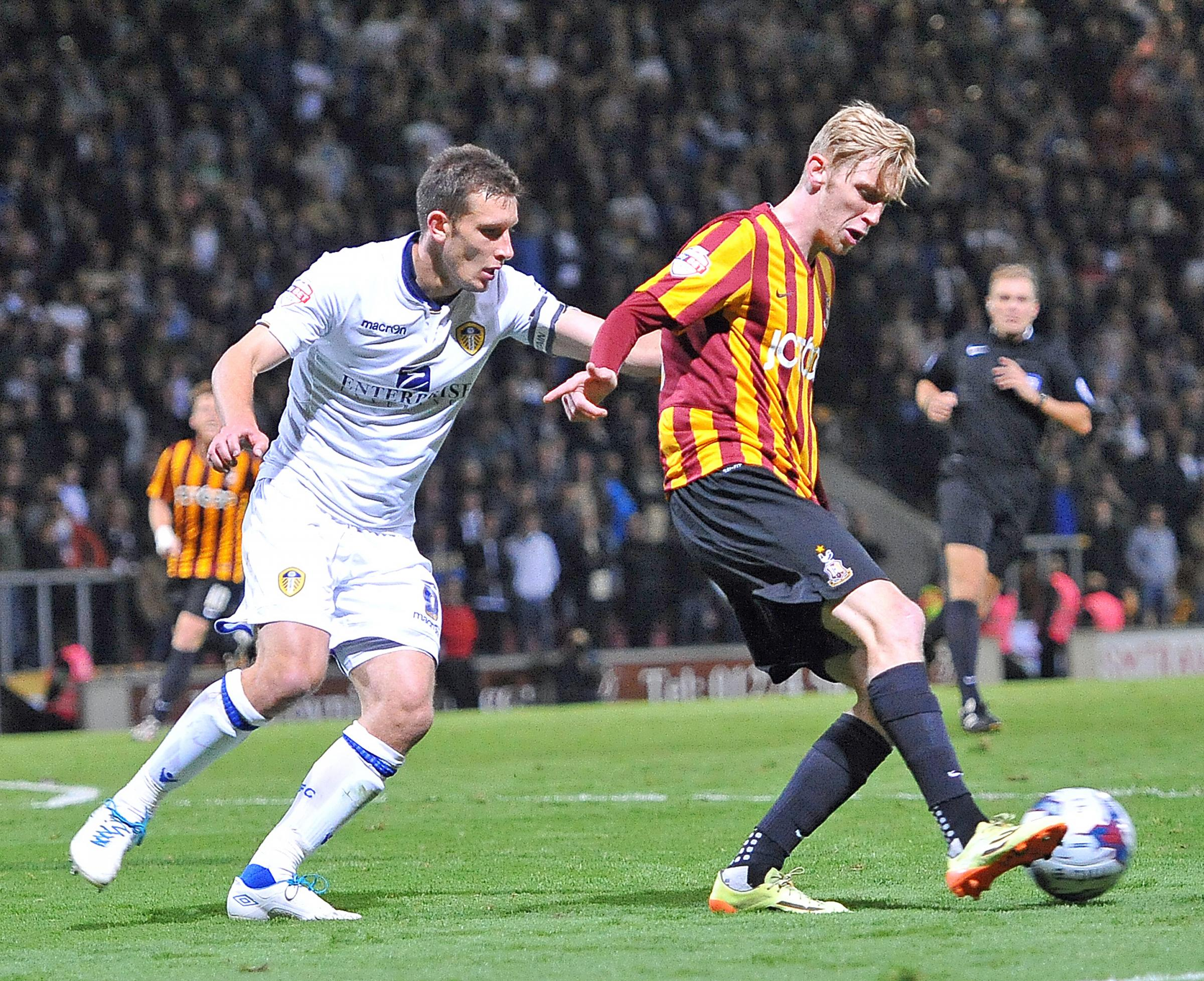 Oliver McBurnie in action against Leeds when he came off the bench earlier in the season