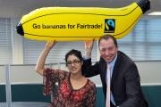 Fatima Sohail and Gareth Osbourne get the message across to highlight a Fairtrade Fortnight event at Bradford College. Fairtrade can give everyone a better deal