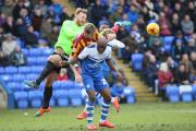 CROWDED OUT: Jon Stead is sandwiched between Posh keeper Ben Alnwick and Gabriel Zakuani  Picture: Thomas Gadd