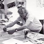 Bradford Telegraph and Argus: Hockney at work on A Bounce For Bradford in 1987.