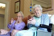 Irene Bottomley and Betty Bramley join in with the Extend class at Brookfield Care Home