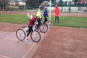 Under-13s rider Will Naylor (blue top) ready for the off