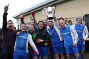 Oddfellows Celtic Reserves' skipper Mark Cordingley holds the Amateur Cup trophy aloft  Picture: Alex Daniel Photography