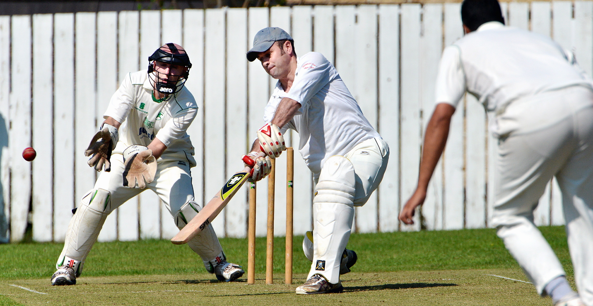 Chris Brown, seen keeping wicket, scored 54 for Wibsey Park Chapel