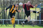 Luke Hunter, right, gave Grangefield Old Boys the lead as they retained the Terry Marflitt Trophy