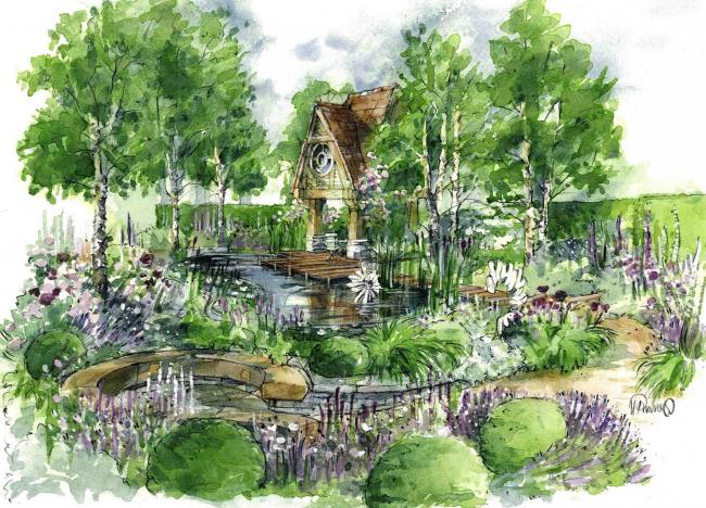 Photo of an illustration of the M and G garden, designed by Jo Thompson, for the RHS Chelsea Flower Show 2015