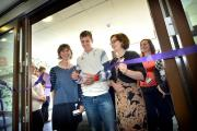 Triathlete Jonny Brownlee opening the new Airedale Hospital Accident Emergency Department flanked by consultant in emergency medicine Meg Crossley (left) and Airedale NHS Foundation Trust chief executive Bridget Fletcher (right)