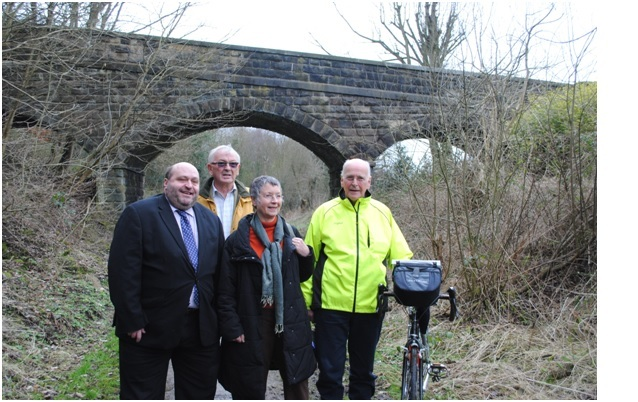 Councillors John Eveleigh (Otley Town Council), Stuart Bottomley (Burley Parish Council) Joanna Rowling (Pool Parish Council) and Quentin Mackenzie (Menston Parish Council) at one point of the route when it was in the early planning stages in 2016