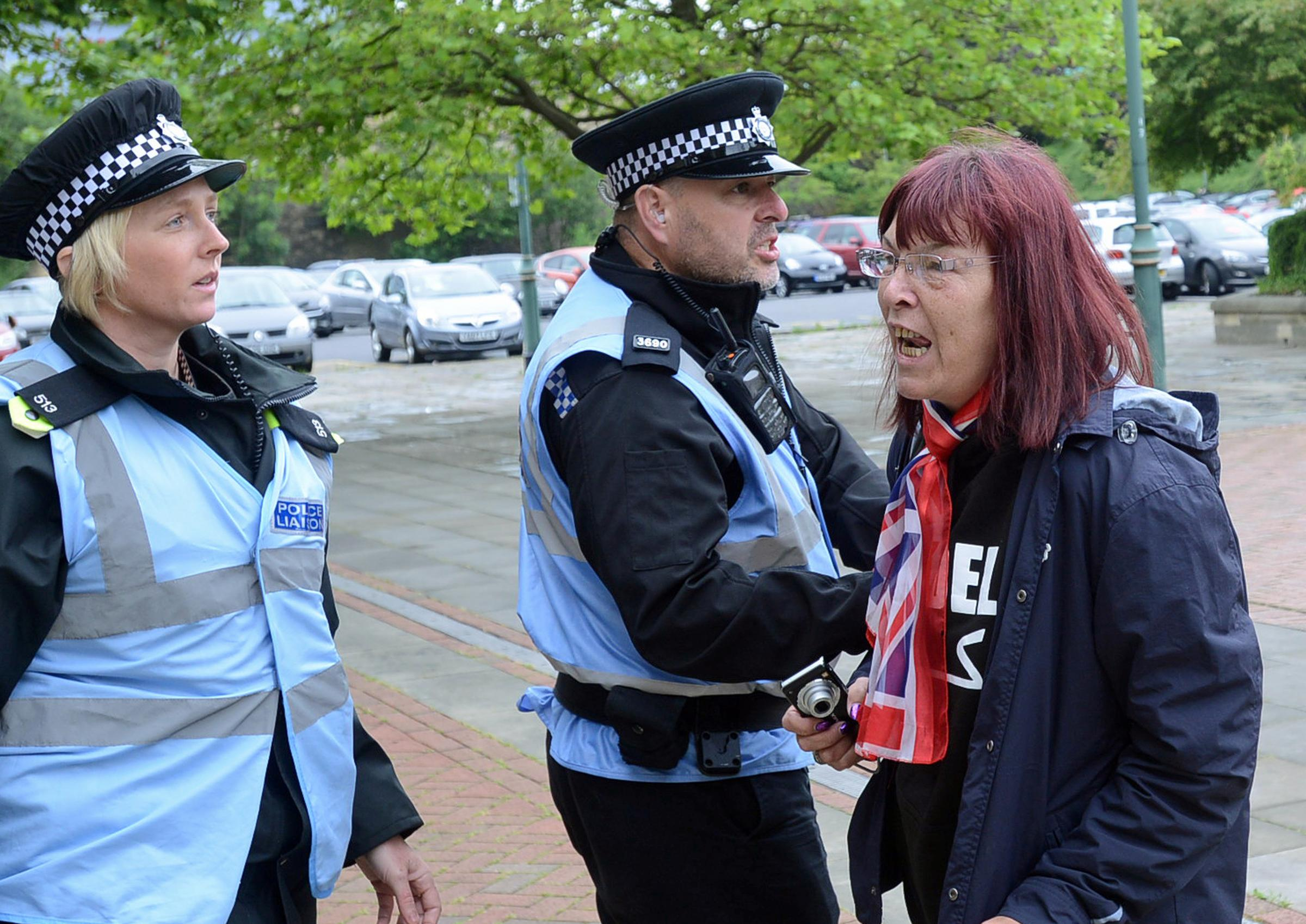 A protester outside Bradford Crown Court