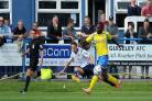 Wayne Brooksby fires over a cross during Guiseley's 1-0 home victory last Saturday against established Vanarama National League side Kidderminster Harriers – a result which pleased Lions boss Mark Bower more than any so far this season Picture: Anthony