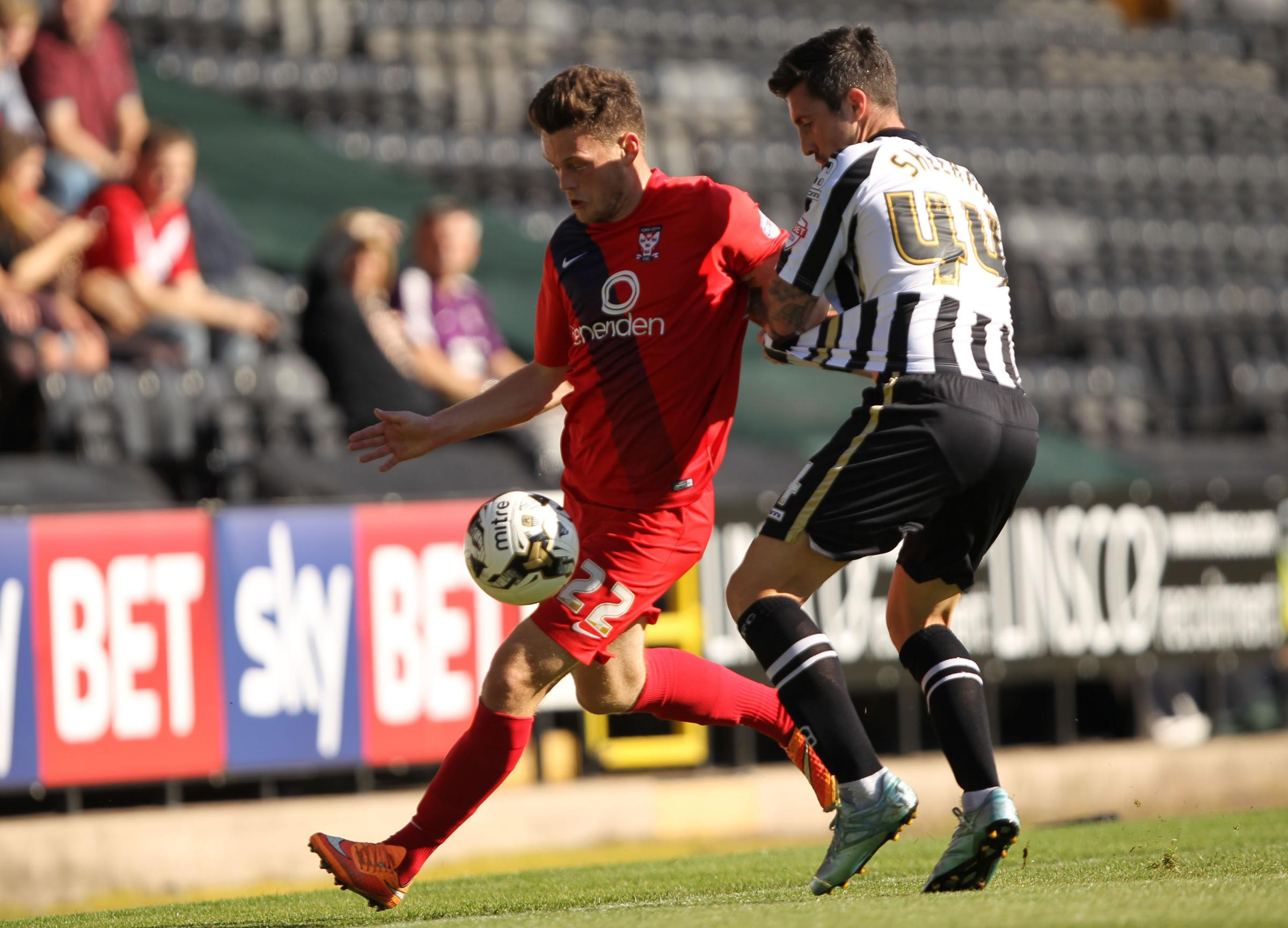 COUNTY SET: Alan Sheehan in action for Notts County against York striker Reece Thompson