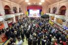 (47285928)People packing in to King's Hall at a previous Ilkley Beer festival